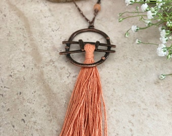 Coral Tassel Necklace | long boho luxe copper jewelry with natural moonstone bead
