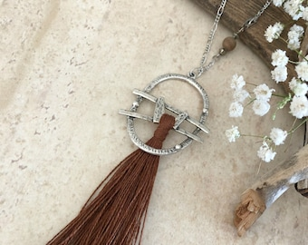 Brown Tassel Necklace | long layering boho luxe silver jewelry with petrified wood bead