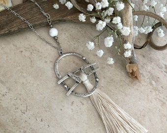 White Sands Tassel necklace | long layering boho luxe silver jewelry with howlite stone bead