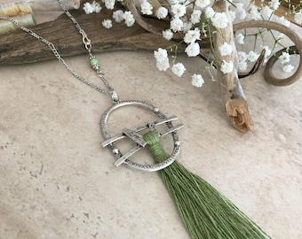 Prairie Green Tassel necklace | long layering boho luxe silver jewelry with chrysoprase stone bead