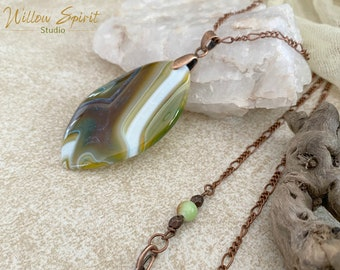 Green Botswana Agate necklace | natural earth stone jewelry