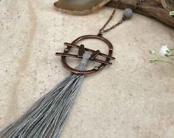 Thunder Gray Tassel necklace | long layering boho luxe jewelry with amazonite stone bead