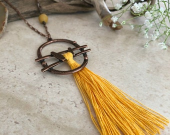 Yellow Tassel Necklace | long layering boho luxe jewelry with mookaite jasper stone bead
