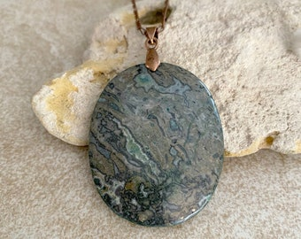 Kambaba Jasper Necklace | natural green talisman stone jewelry