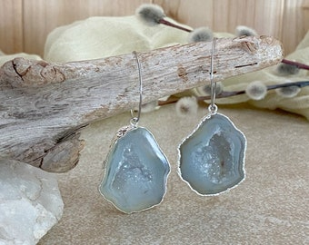 Natural Geode Agate earrings | raw stalactite in silver jewelry