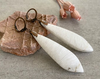 Scolecite Earrings | natural white raw earth stone jewelry