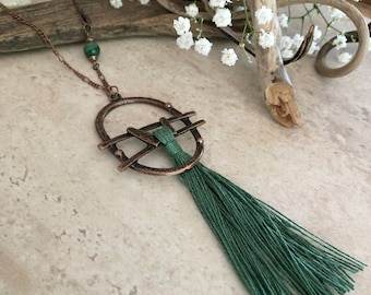 Forest Green Tassel necklace | long layering boho luxe linen jewelry with malachite stone bead