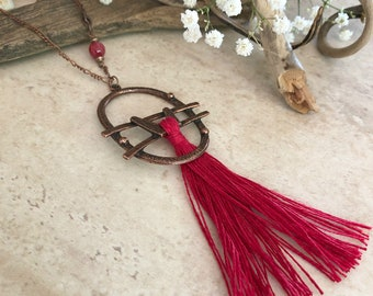 Cherry Red Tassel necklace | long layering boho luxe jewelry with red agate stone bead