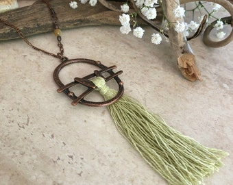 Pale Green Tassel necklace | long layering boho luxe jewelry with chrysoprase stone bead