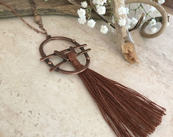 Brown Tassel Necklace | long layering boho luxe jewelry with petrified wood bead