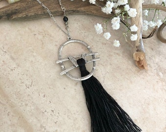Black Tassel Necklace | long layering boho luxe silver jewelry with obsidian bead