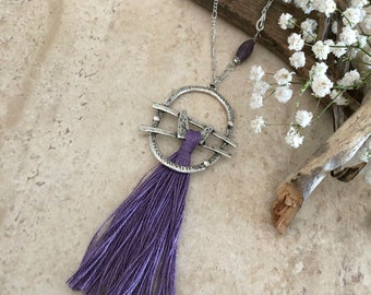 Purple Tassel Necklace | long layering silver boho luxe jewelry lepidolite stone bead