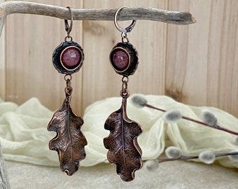 Copper Oak Leaf earrings | natural rhodonite earth stone jewelry