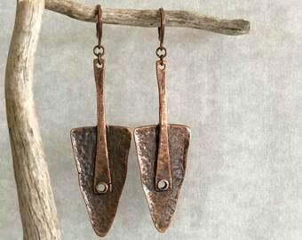 Ancient Tribal Copper metalwork earrings