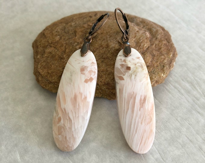 Featured listing image: Scolecite Earrings | natural peach raw earth stone jewelry