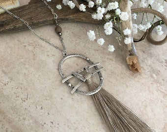 Neutral Tassel Necklace | long layering boho luxe silver jewelry with petrified wood bead