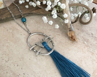 Stormy Blue Tassel necklace | long layering silver boho luxe jewelry with apatite stone bead