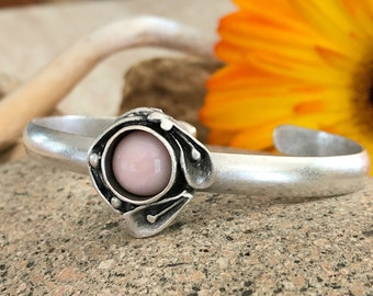 Pink Opal Cuff bracelet in antiqued brushed silver