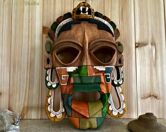 Mayan Jaguar mask | ancient culture wood decor