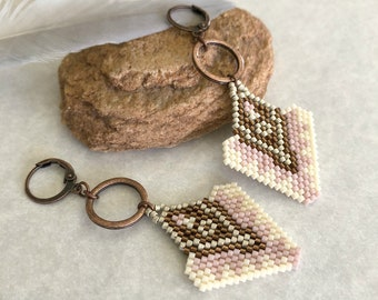 Pink Arrow Earrings   copper and white beaded ouray design