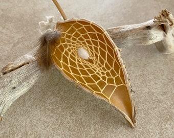 Golden Dream Catcher milkweed seed pod talisman