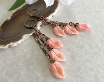 Pink Conch Shell earrings  | natural carved leaf jewelry