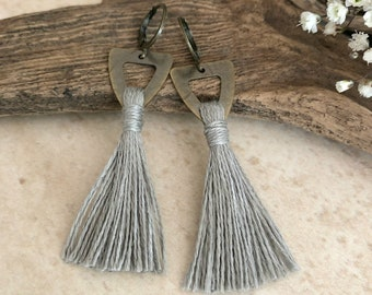 Gray Tassel Earrings on brass triangles | hand spun linen fiber | color therapy