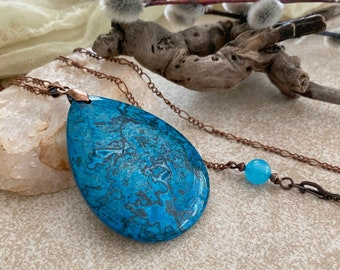 Shattuckite Pendant Necklace | natural earth stone jewelry