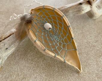 Sage Green Milkweed seed pod dream catcher talisman