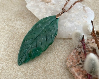 Green Jade Leaf necklace | natural earth stone jewelry