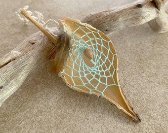 Mint Green Milkweed seed pod dream catcher talisman