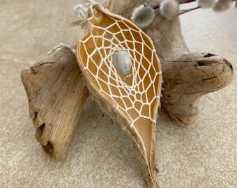 White Dream Catcher milkweed seed pod talisman