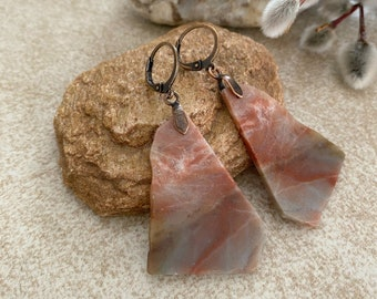 Marble Slab Earrings | natural raw jasper earth stone jewelry