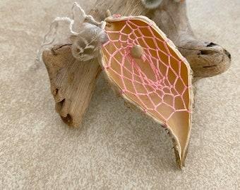 Peach Milkweed Seed pod dream catcher talisman
