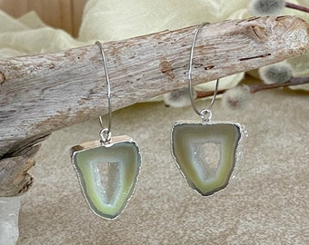 Moss Geode Agate earrings | raw green stalactite in silver jewelry