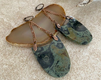Kambaba Jasper Earrings   natural galaxy stone jewelry