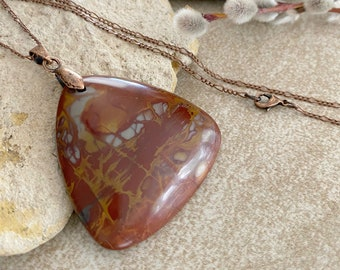 Noreena Jasper Necklace | natural red earth stone jewelry