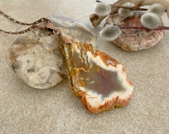 Fiery Agate Natural necklace | sliced raw stone jewelry talisman