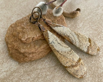 Desert Jasper Stone earrings | natural scenic picture jewelry
