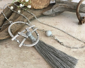 Thunder Gray Tassel necklace | long layering silver boho jewelry with amazonite stone bead