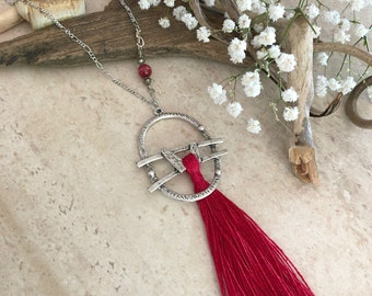Cherry Red Tassel necklace | long layering boho luxe silver jewelry with red agate stone bead