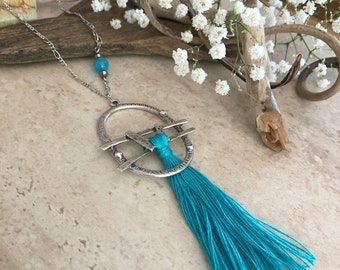 Turquoise Tassel Necklace | long layering boho luxe silver jewelry with aqua blue jade bead