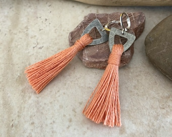 Coral Tassel Earrings | hand spun linen fiber | color therapy
