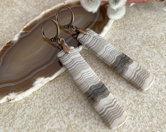Montana Jasper Earrings | natural banded earth stone jewelry