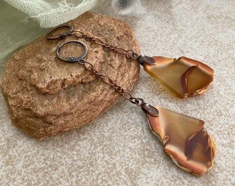 Fire Within Agate earrings | raw earth stone slice jewelry