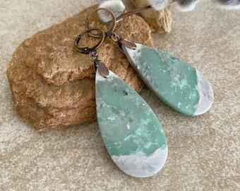 Peace Stone Earrings | natural variscite green earth jasper jewelry