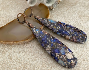 Mohave Stone Earrings | purple copper turquoise earth jewelry