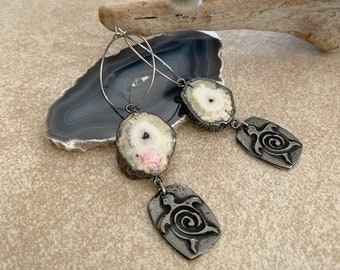 Geode Earrings with turtle totem | natural raw stalactite jewelry