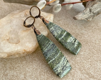 Camouflage Jasper Earrings | natural earth stone jewelry