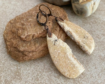 Desert Dreams Slab earrings | natural fossilized earth stone jewelry